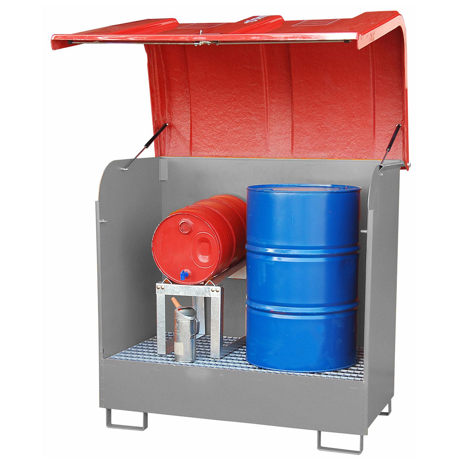 Bauer Gefahrstoff-Depot GD-B für Außenbereich mit Spritzschutzwand und GFK-Haube, Mausgrau 4416-02-0000-5