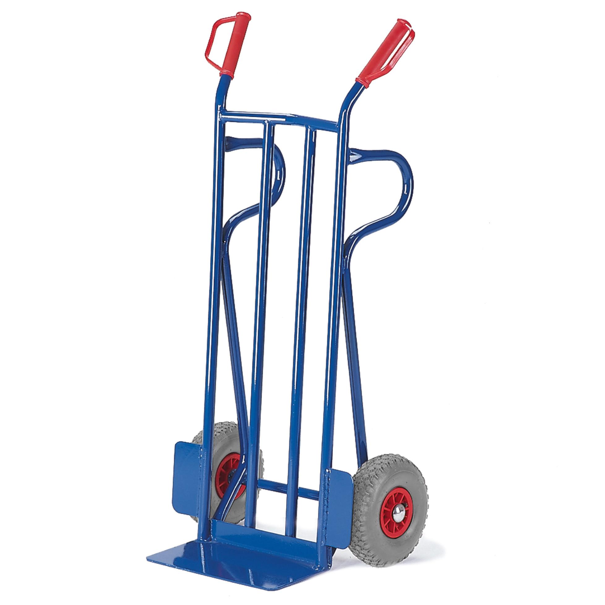 Rollcart Sackkarre -964- mit Rückwand aus Flachstahl 1250mm hoch Schaufelbreite 400mm Vollgummi 22-9641