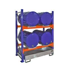 Bauer Grundregal 3000 für Fässer mit 2 Ebenen, Auffangwanne ohne Gitterrost, 4x200l liegend