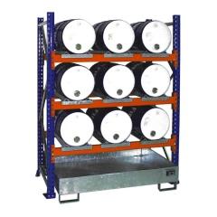 Bauer Anbauregal 3005 für Fässer mit 3 Ebenen, Auffangwanne ohne Gitterrost, 9x60l liegend