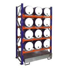 Bauer Anbauregal 3007 für Fässer mit 4 Ebenen, Auffangwanne ohne Gitterrost, 12x60l liegend
