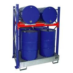 Bauer Grundregal 3008 für Fässer mit 1 Ebene, Auffangwanne mit Gitterrost, 4x 200l
