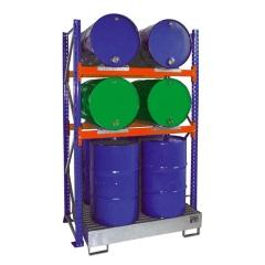 Bauer Anbauregal 3001 für Fässer mit 2 Ebenen, Auffangwanne mit Gitterrost, 4x 200l