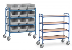 Fetra Beistellwagen mit Holzwerkstoffplatten für 12 Eurokisten