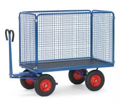 Fetra Handpritschenwagen mit Zugöse an der Deichsel, Drahtgitterwänden 1000mm hoch