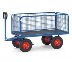 Fetra Handpritschenwagen mit Zugöse an der Deichsel, Drahtgitterwänden 600mm hoch