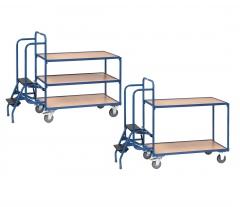 Fetra Kommissionierwagen mit Trittstufen 2-3 Etagen Buchendekor