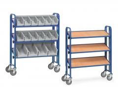 Fetra Montagewagen mit 3 neigbaren Böden aus Holzwerkstoff, wahlweise mit/ohne Sichtlagerkästen