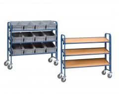 Fetra Montagewagen mit 3 neigbaren Böden aus Holzwerkstoff, wahlweise mit/ohne Eurokästen