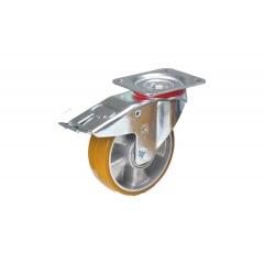 Fetra Polyurethan Lenkrolle mit Feststeller, 160x50 mm Radgröße