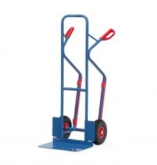 Fetra Stahlrohrkarre mit Vollgummi-Bereifung Höhe 1300 mm mit Kunststoff-Gleitkufen, Schaufelbreite 480mm