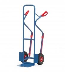 Fetra Stahlrohrkarre mit Vollgummi-Bereifung Höhe 1300 mm mit Kunststoff-Gleitkufen, Schaufelbreite 320mm