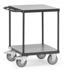 Fetra Tischwagen quadratisch Holzwerkstoff 2 Etagen 600x600mm Ladefläche Grey Edition