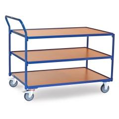 Fetra Tischwagen mit Holzwerkstoffplatten 3 Etagen mit hochstehendem Schiebegriff 1200x800mm Ladefläche