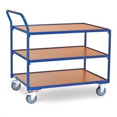Fetra Tischwagen mit Holzwerkstoffplatten 3 Etagen mit hochstehendem Schiebegriff 1000x700mm Ladefläche