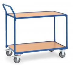 Fetra Tischwagen mit Holzwerkstoffplatten 2 Etagen mit hochstehendem Schiebegriff