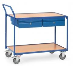 Fetra Tischwagen mit Holzwerkstoffplatten 2 Etagen und 2 Schubladen