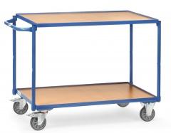 Fetra Tischwagen mit Holzwerkstoffplatten 2 Etagen mit rechteckige Ladeflächen