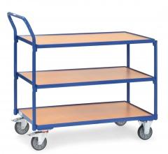 Fetra Tischwagen mit Holzwerkstoffplatten 3 Etagen mit hochstehendem Schiebegriff 850x500mm Ladefläche