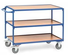 Fetra Tischwagen mit Holzwerkstoffplatten 3 Etagen mit rechteckige Ladeflächen 850x500mm Ladefläche