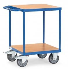 Fetra Tischwagen quadratisch Holzwerkstoff 2 Etagen 600x600mm Ladefläche