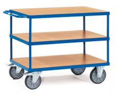 Fetra Tischwagen mit Holzwerkstoffplatten 3 Etagen Tragkraft obere Ladefläche 200kg