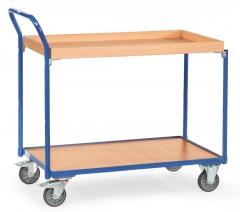 Fetra Tischwagen mit Holzwerkstoffplatten 2 Etagen mit Kasten mit 45 mm hohem Rand 1000x600mm Ladefläche