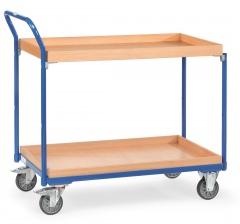 Fetra Tischwagen mit Holzwerkstoffplatten und 2 Kästen aus Holz 850x500mm Ladefläche