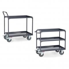 Fetra ESD-Tischwagen mit Wannen und 2-3 Etagen in Grey Edition