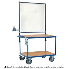 Fetra Rollpult mit Infektionsschutzausstattung Holzwerkstoffplatten 2 Etagen