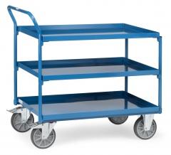 Fetra Tischwagen mit Stahlblechwannen 3 Etagen mit hohem Schiebebügel