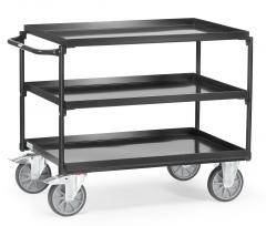 Fetra Tischwagen mit Stahlblechwannen 3 Etagen Grey Edition