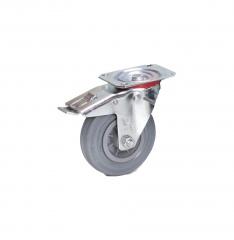 Fetra Vollgummi Lenkrolle mit Feststeller, 125x32 mm Radgröße