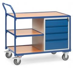 Fetra Werkstattwagen mit Umrandung, 4 Schubladen und 3 Ladeflächen