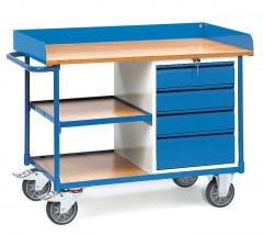 Fetra Werkstattwagen mit Umrandung 4 Schubladen und 3 Ladeflächen