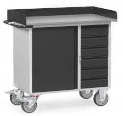 Fetra Werkstattwagen mit Schrank und 6 Schubladen mit Abrollrand Grey Edition