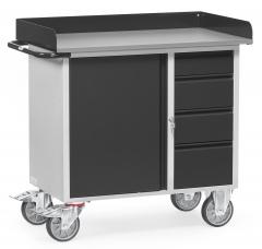 Fetra Werkstattwagen mit Schrank und 4 Schubladen mit Abrollrand Grey Edition
