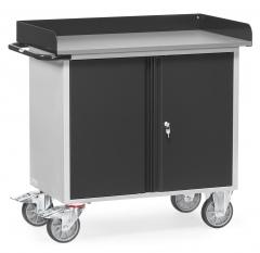 Fetra Werkstattwagen mit zweitürigem Schrank mit Abrollrand Grey Edition