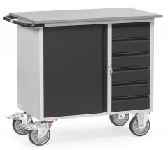 Fetra Werkstattwagen mit Schrank und 6 Schubladen ohne Abrollrand Grey Edition