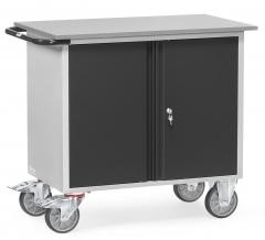 Fetra Werkstattwagen mit zweitürigem Schrank ohne Abrollrand Grey Edition