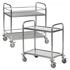 Kongamek Edelstahl- Tischwagen rostfrei mit 2 Böden, Bremse und wahlweise mit Umrandung