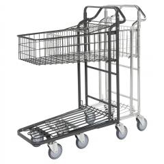 Kongamek Einkaufswagen mit 2 Böden und tiefem Gitterkorb oben Gummibereift Ø125mm