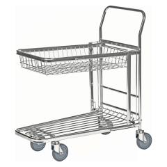 Kongamek Einkaufswagen mit 2 Böden und Gitterkorb oben Gummi Ø125mm wahlweise mit Bremse