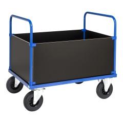 Kongamek Kastenwagen in blau 900mm hoch mit MDF-Platte und 4 Wänden, wahlweise mit Bremse