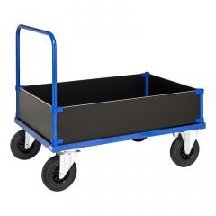 Kongamek Kastenwagen in blau mit verzinkter Ladefläche, 4 Wänden 400mm hoch und Schiebebügel, wahlweise mit Bremse
