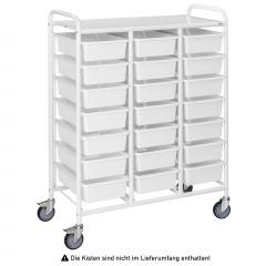 Kongamek Kisten- und Tablettwagen 950x420x1205mm in weiß mit 21 Böden und Bremse