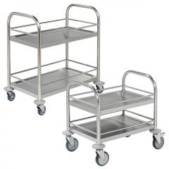 Kongamek kleiner Edelstahl- Tischwagen rostfrei mit 2 Böden mit Umrandung und Bremse