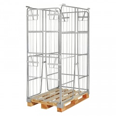 Kongamek Palettencontainer verzinkt 1800mm hoch, seitlich halb zu öffnen passend zu Europaletten 1200x800mm