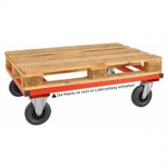Kongamek Palettenwagen in rot 305mm hoch ohne Bremse für Paletten 1200x1000mm