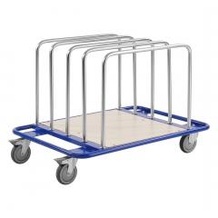 Kongamek Leichter Plattenwagen pulverbeschichtet in blau 1000x700x690mm mit laminiertem Boden und 2 Ladebügeln